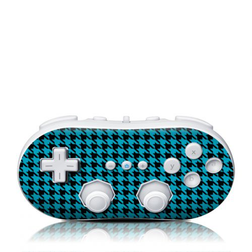 Teal Houndstooth Wii Classic Controller Skin
