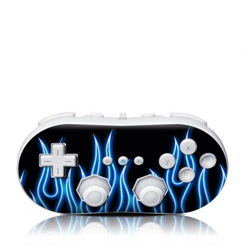 Blue Neon Flames Wii Classic Controller Skin