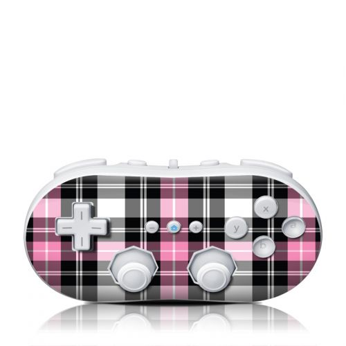 Pink Plaid Wii Classic Controller Skin