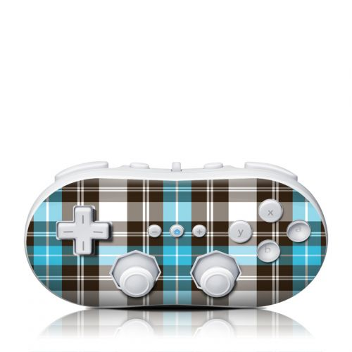 Turquoise Plaid Wii Classic Controller Skin