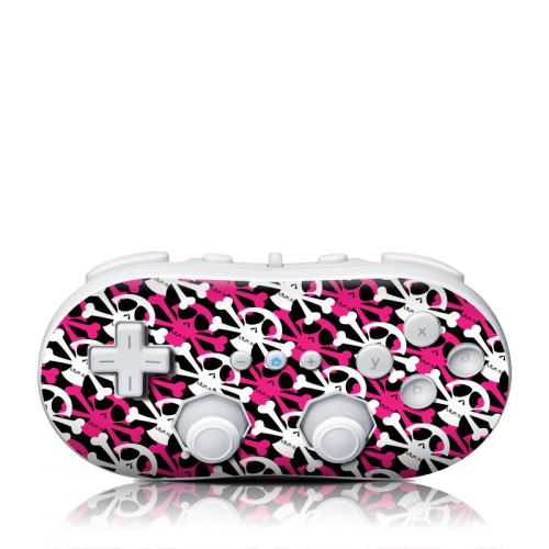 Skully Pink Wii Classic Controller Skin
