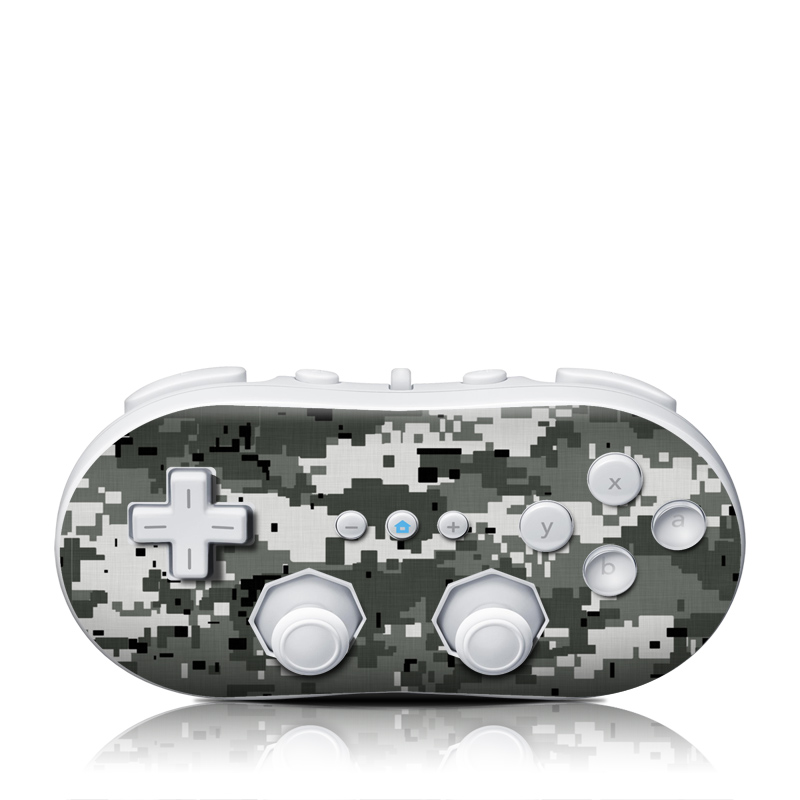 Wii Classic Controller Skin design of Military camouflage, Pattern, Camouflage, Design, Uniform, Metal, Black-and-white with black, gray colors