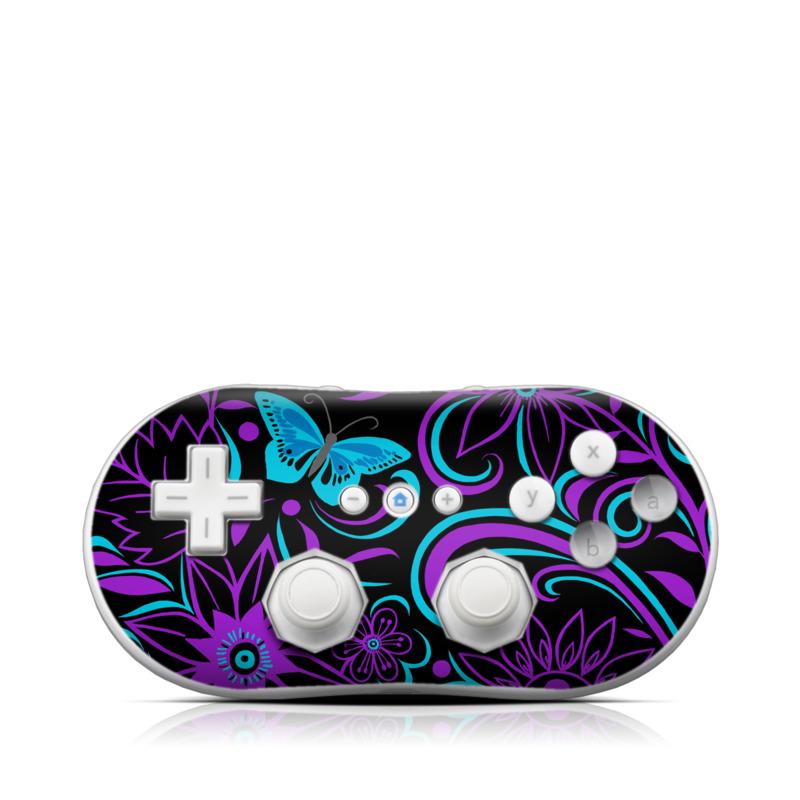 Wii Classic Controller Skin design of Pattern, Purple, Violet, Turquoise, Teal, Design, Floral design, Visual arts, Magenta, Motif with black, purple, blue colors