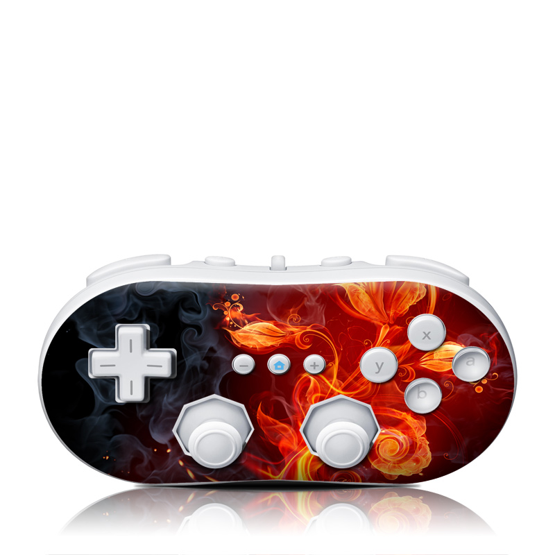 Wii Classic Controller Skin design of Flame, Fire, Heat, Red, Orange, Fractal art, Graphic design, Geological phenomenon, Design, Organism with black, red, orange colors