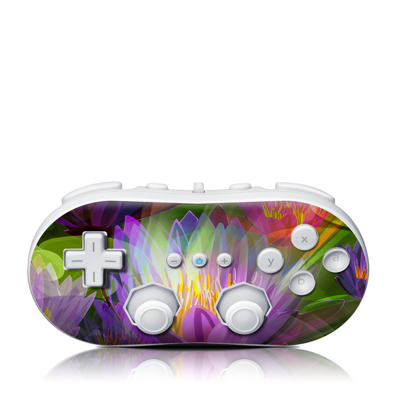Wii Classic Controller Skin design of Flowering plant, Flower, Petal, Violet, Aquatic plant, Purple, water lily, Plant, Botany, Close-up with gray, green, black, purple, red colors