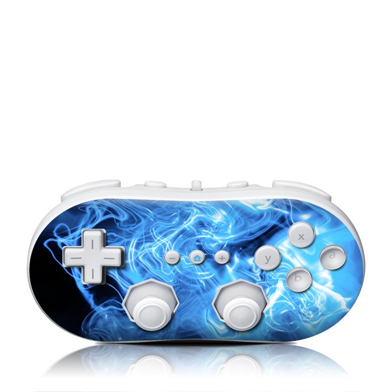 Blue Quantum Waves Wii Classic Controller Skin