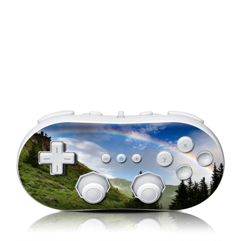 Wii Classic Controller Skin design of Natural landscape, Nature, Mountainous landforms, Rainbow, Sky, Mountain, Highland, Wilderness, Mountain range, Natural environment with black, gray, green, blue colors