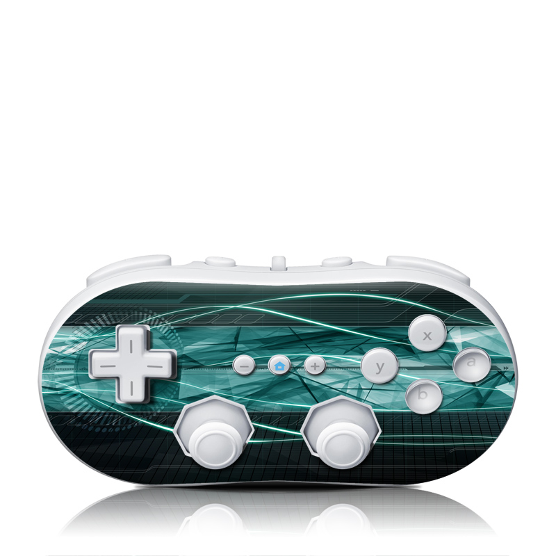 Wii Classic Controller Skin design of Blue, Green, Aqua, Turquoise, Light, Teal, Line, Water, Pattern, Architecture with black, blue, gray colors