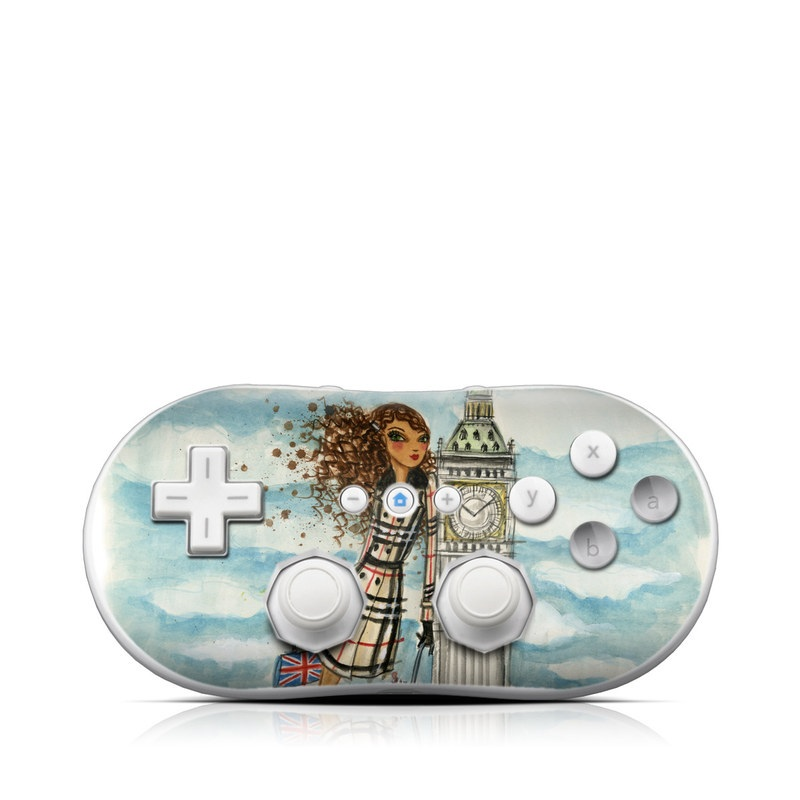Wii Classic Controller Skin design of Illustration, Watercolor paint, Art, Fashion illustration, Painting, Outerwear, Tower, Style with gray, black, green, red colors