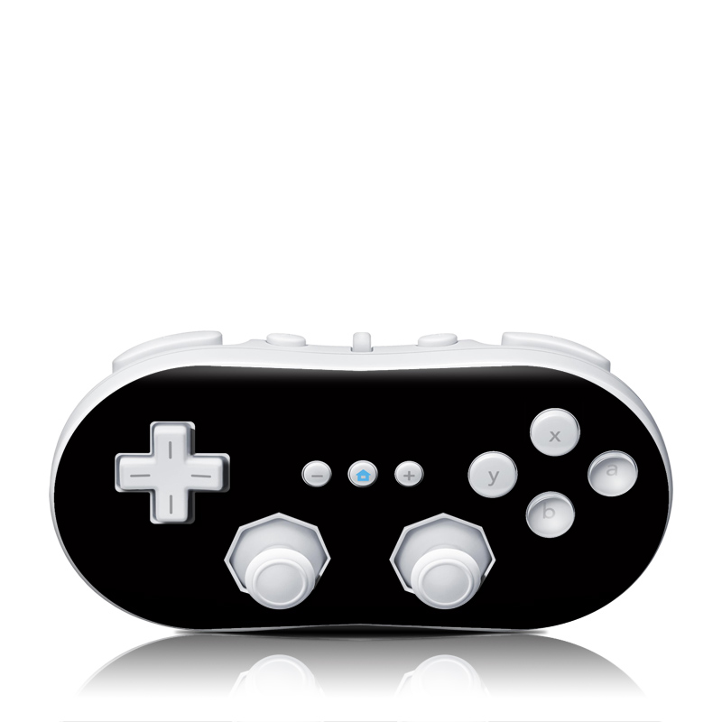 Solid State Black Wii Classic Controller Skin