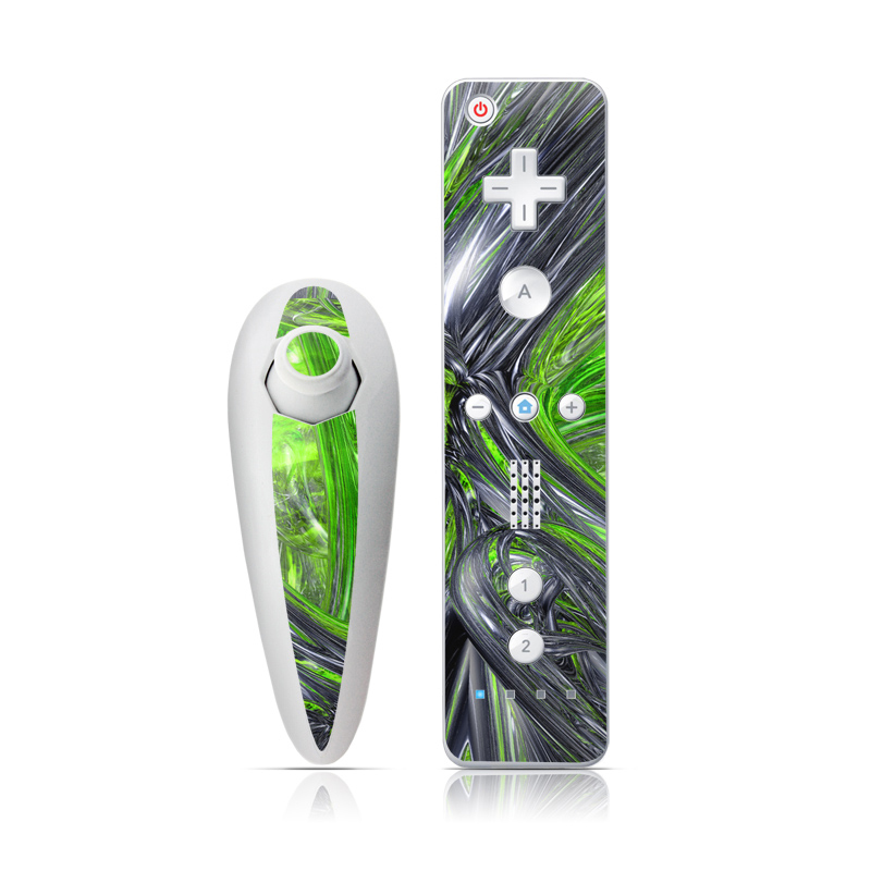 Wii Nunchuk Remote Skin design of Green, Tree, Leaf, Plant, Grass, Terrestrial plant, Botany, Woody plant, Arecales, Vascular plant with green, gray, black colors