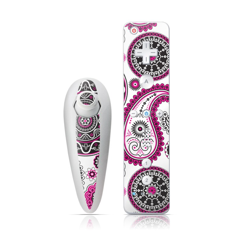 Wii Nunchuk Remote Skin design of Pattern, Paisley, Motif, Visual arts, Pink, Design, Circle, Textile with white, pink, black colors