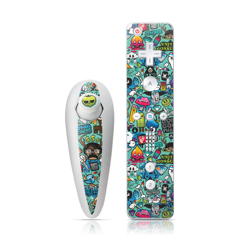 Wii Nunchuk Remote Skin design of Cartoon, Art, Pattern, Design, Illustration, Visual arts, Doodle, Psychedelic art with black, blue, gray, red, green colors