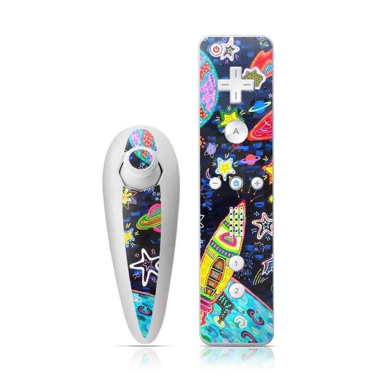 Wii Nunchuk Remote Skin design of Pattern, Psychedelic art, Visual arts, Paisley, Design, Motif, Art, Textile with black, gray, blue, red colors