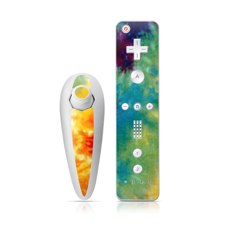 Wii Nunchuk Remote Skin design of Orange, Watercolor paint, Sky, Dye, Acrylic paint, Colorfulness, Geological phenomenon, Art, Painting, Organism with red, orange, blue, green, yellow, purple colors