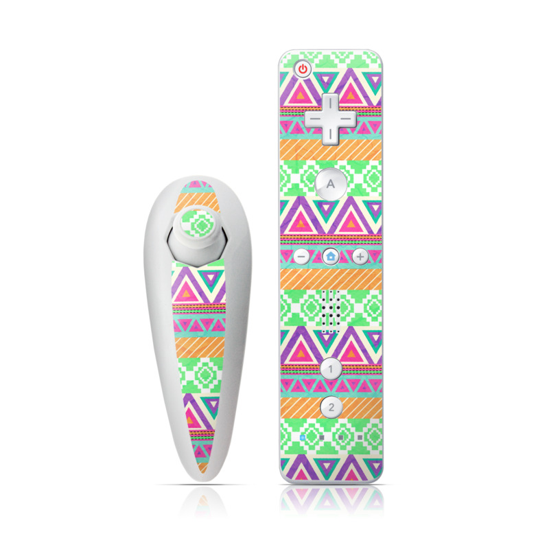 Wii Nunchuk Remote Skin design of Pattern, Line, Textile, Design, Visual arts, Symmetry, Motif with gray, green, purple, orange, pink, blue colors