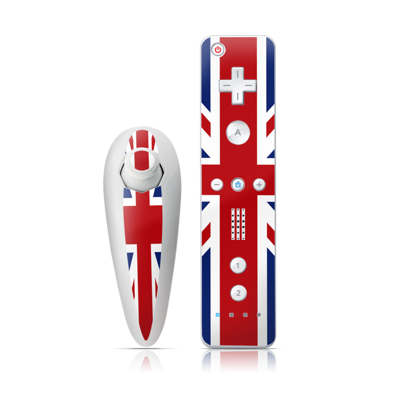 Wii Nunchuk Remote Skin design of Flag, Red, Line, Electric blue, Design, Font, Pattern, Parallel, Flag Day (USA) with red, white, blue colors
