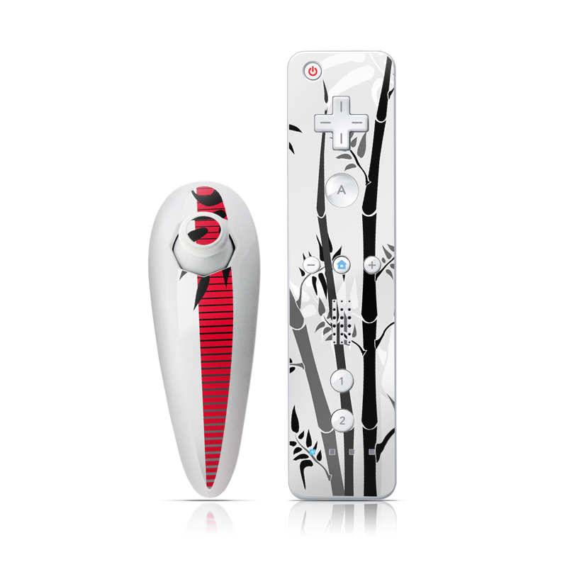 Wii Nunchuk Remote Skin design of Botany, Plant, Branch, Plant stem, Tree, Bamboo, Pedicel, Black-and-white, Flower, Twig with gray, red, black, white colors