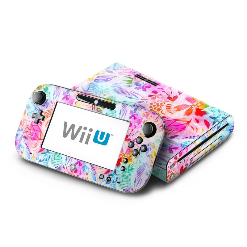 Wii U Skin design of Pattern, Design, Textile, Art with gray, pink, purple, blue colors