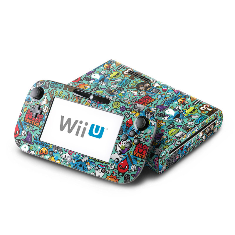 Wii U Skin design of Cartoon, Art, Pattern, Design, Illustration, Visual arts, Doodle, Psychedelic art with black, blue, gray, red, green colors