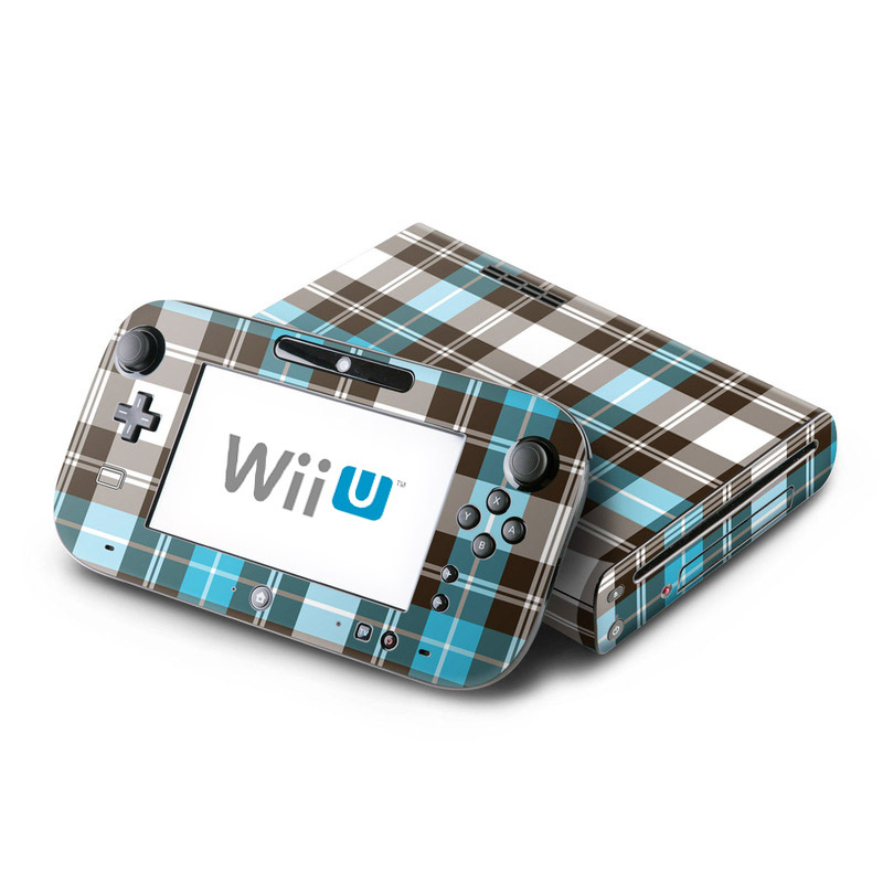 Wii U Skin design of Plaid, Pattern, Tartan, Turquoise, Textile, Design, Brown, Line, Tints and shades with gray, black, blue, white colors