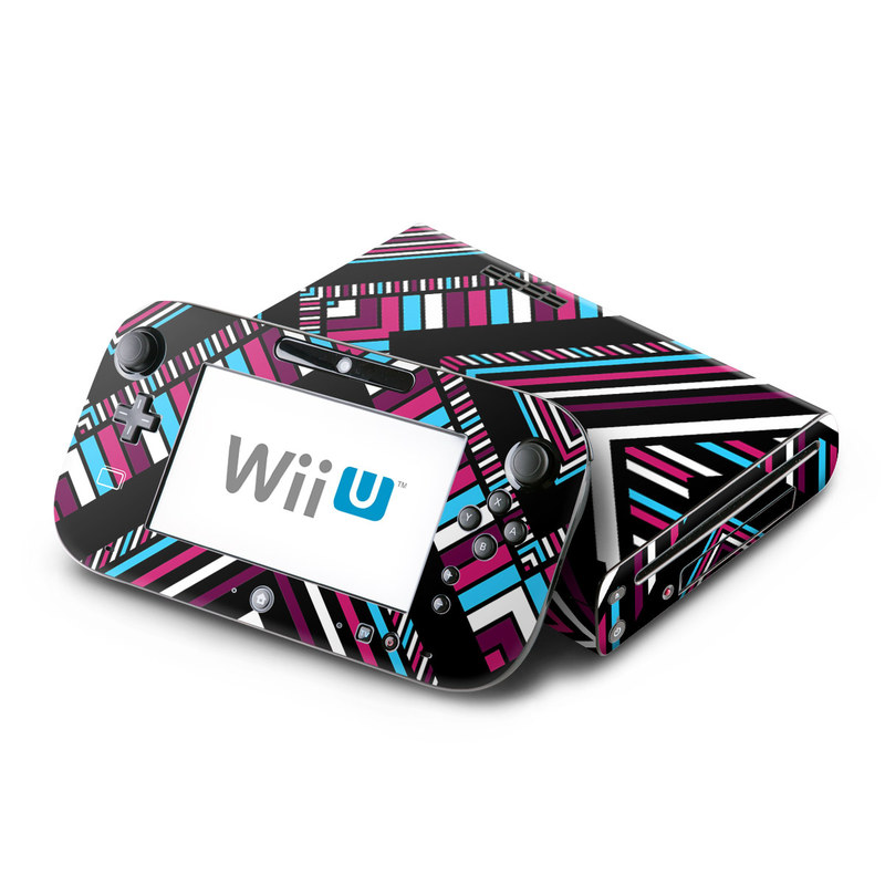 Wii U Skin design of Pattern, Line, Symmetry, Design, Pink, Textile, Psychedelic art, Magenta, Triangle with black, gray, red, white, blue colors