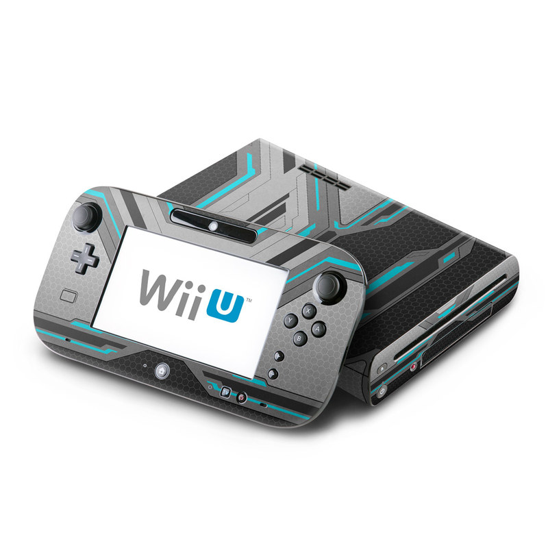 Wii U Skin design of Blue, Turquoise, Pattern, Teal, Symmetry, Design, Line, Automotive design, Font with black, gray, blue colors