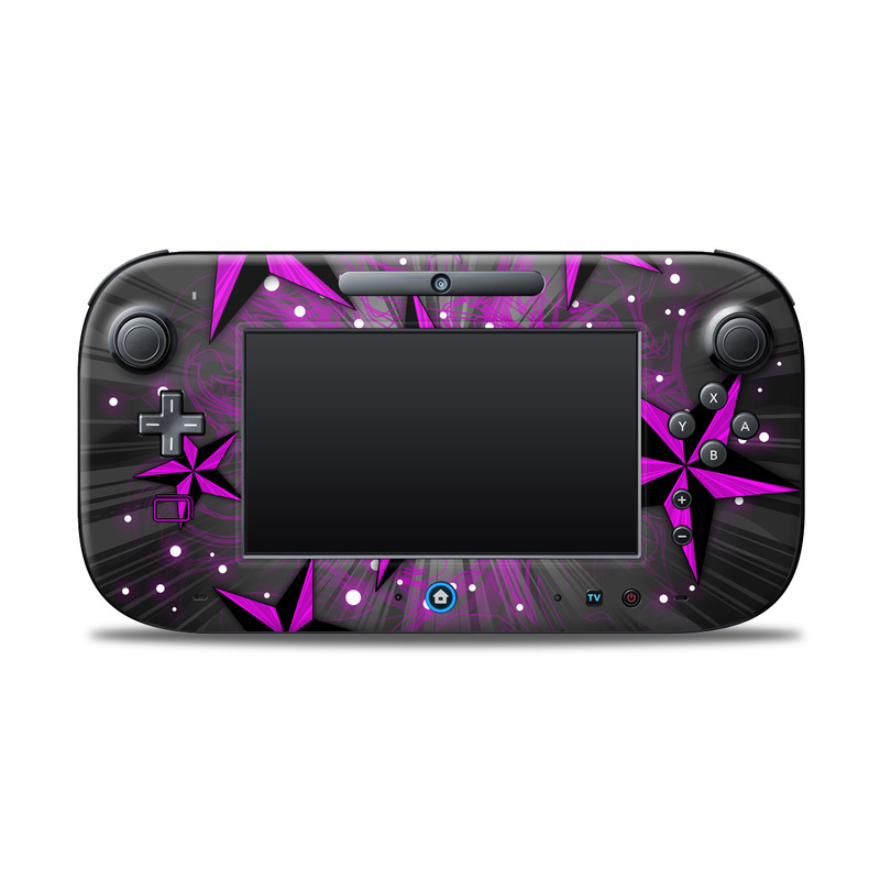 Wii U Controller Skin design of Pink, Purple, Violet, Light, Star, Pattern, Magenta, Design, Graphic design, Material property with black, purple, gray colors