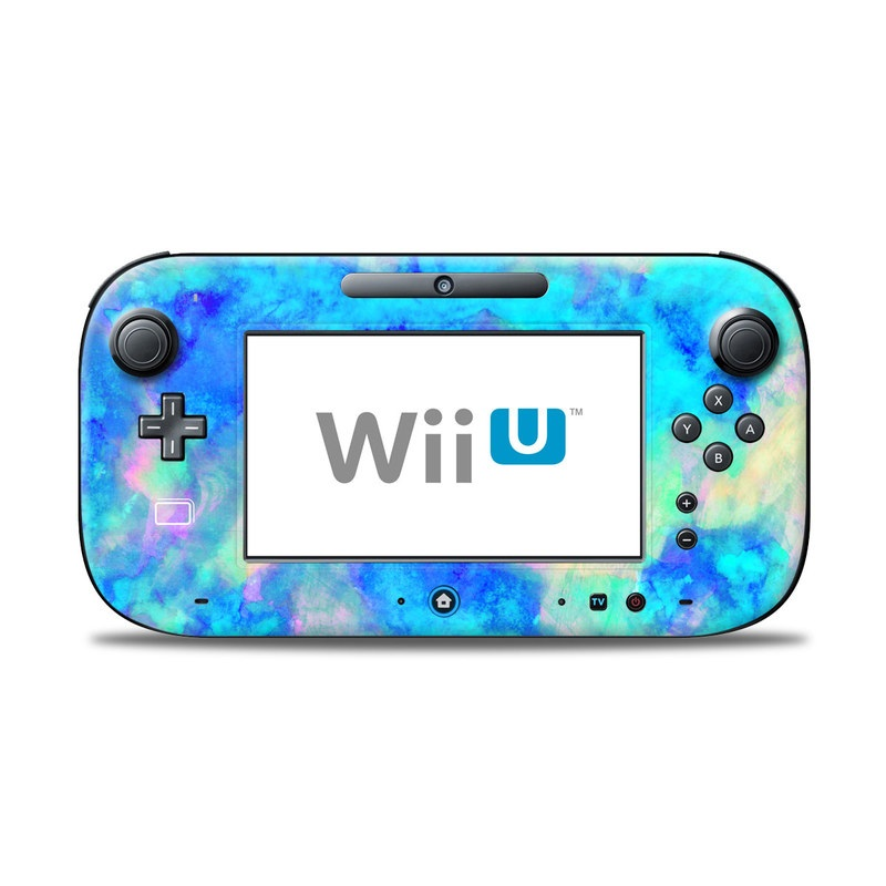 Wii U Controller Skin design of Blue, Turquoise, Aqua, Pattern, Dye, Design, Sky, Electric blue, Art, Watercolor paint with blue, purple colors