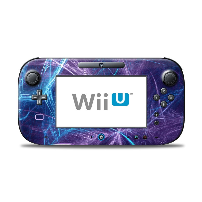 Wii U Controller Skin design of Blue, Purple, Electric blue, Light, Water, Pattern, Fractal art, Line, Sky, Design with blue, black, gray, purple colors