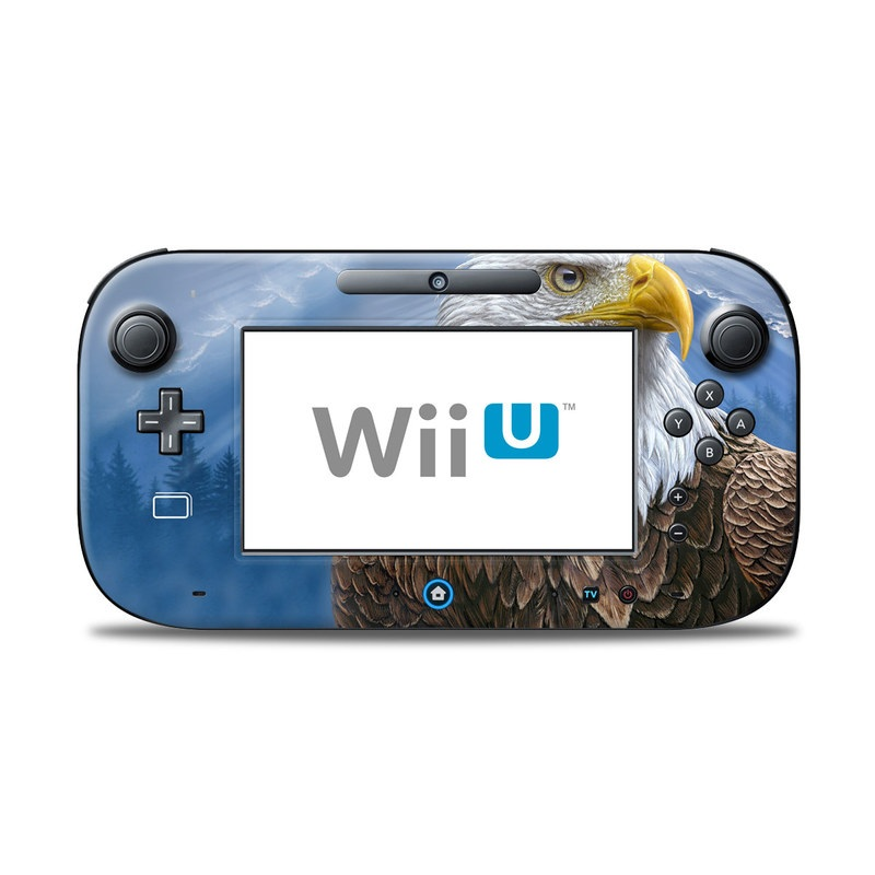 Wii U Controller Skin design of Bird, Bald eagle, Bird of prey, Vertebrate, Accipitriformes, Accipitridae, Eagle, Nature, Beak, Kite with blue, brown, white, yellow colors