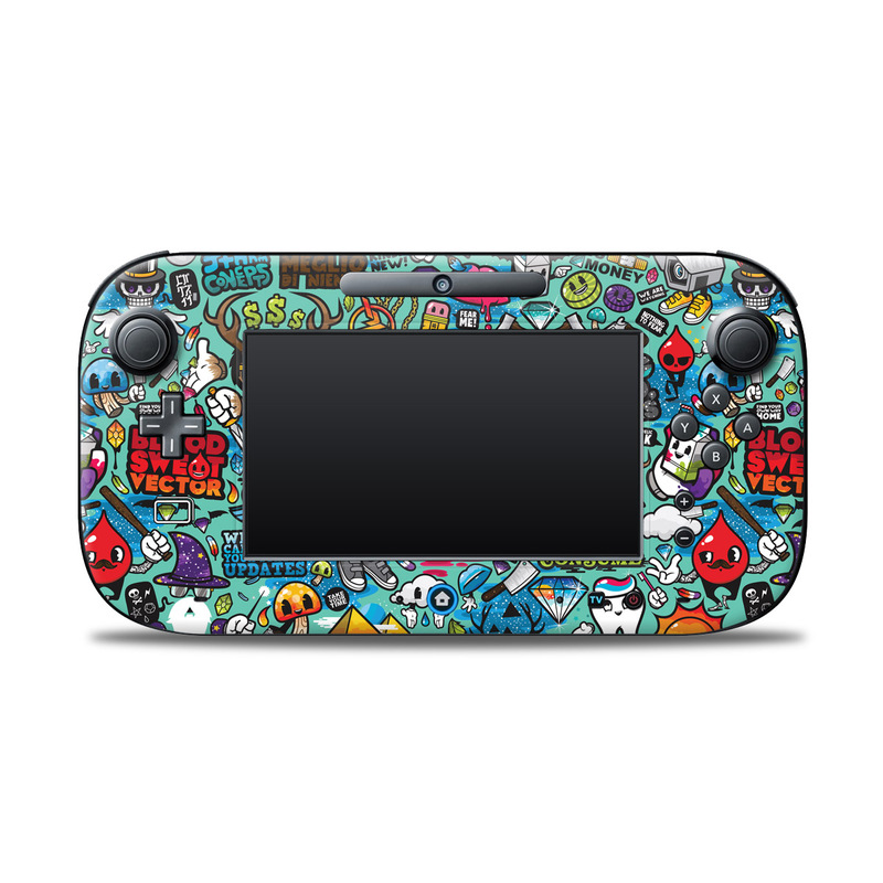 Wii U Controller Skin design of Cartoon, Art, Pattern, Design, Illustration, Visual arts, Doodle, Psychedelic art with black, blue, gray, red, green colors