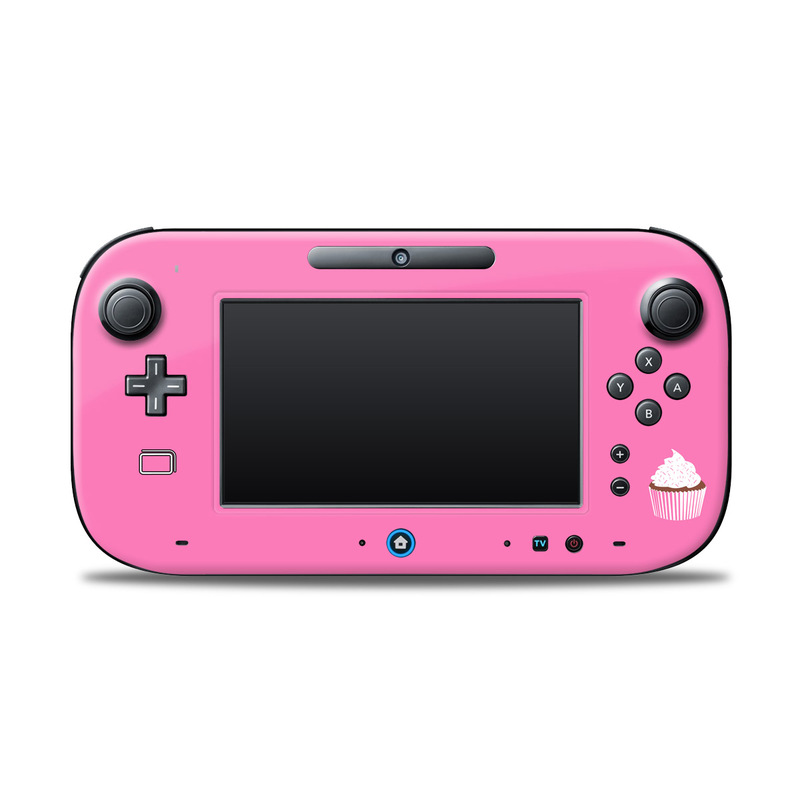 Wii U Controller Skin design of Pink, Cupcake, Baking cup, Logo, Buttercream, Font, Icing, Muffin, Baking, Dessert with pink, white colors
