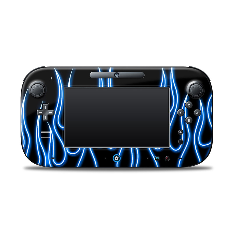 Blue Neon Flames Nintendo Wii U Controller Skin