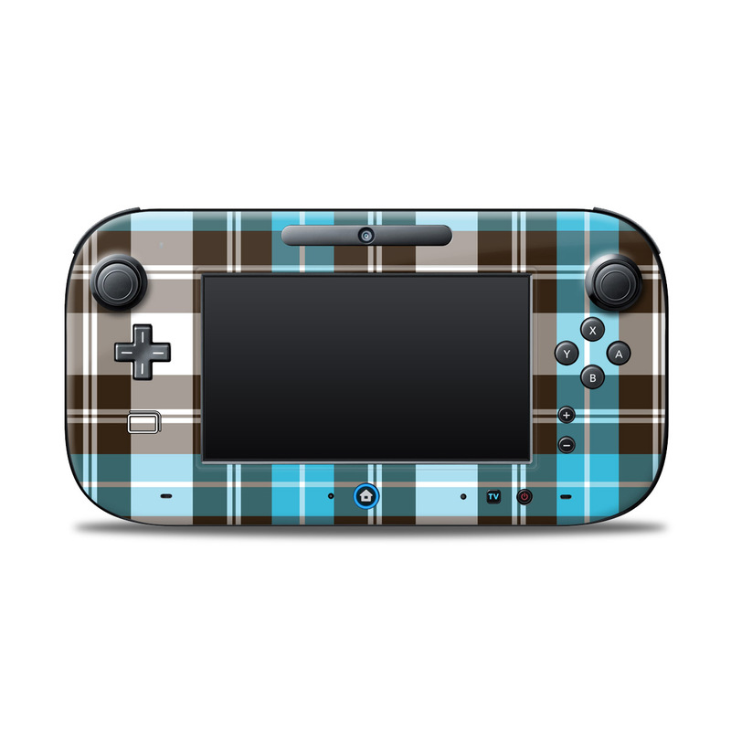 Wii U Controller Skin design of Plaid, Pattern, Tartan, Turquoise, Textile, Design, Brown, Line, Tints and shades with gray, black, blue, white colors