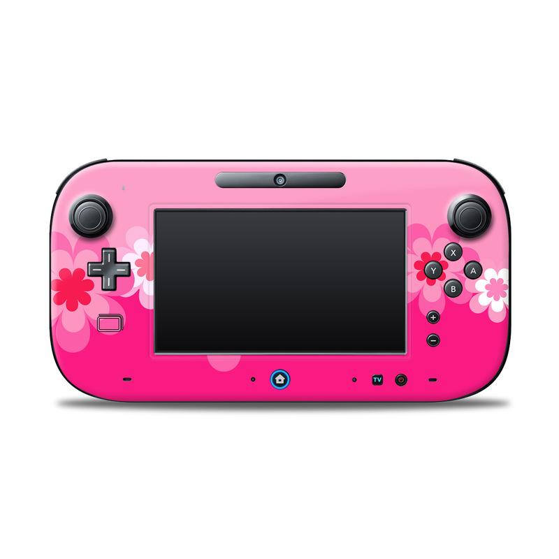 Retro Pink Flowers Nintendo Wii U Controller Skin