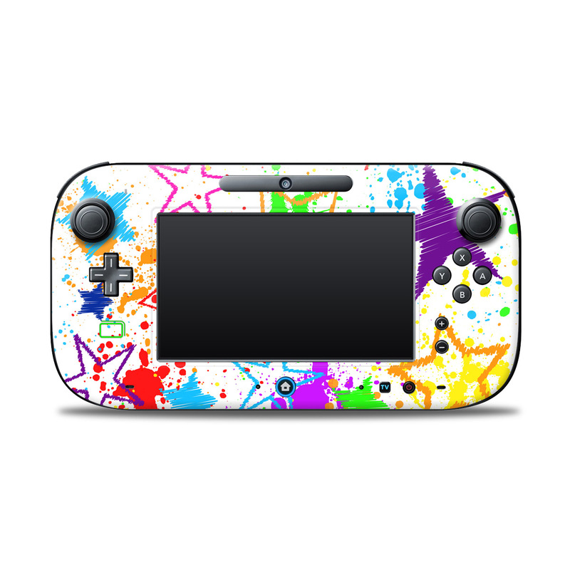Wii U Controller Skin design of Design, Line, Pattern, Illustration, World, Graphics, Art with white, pink, green, yellow, blue colors