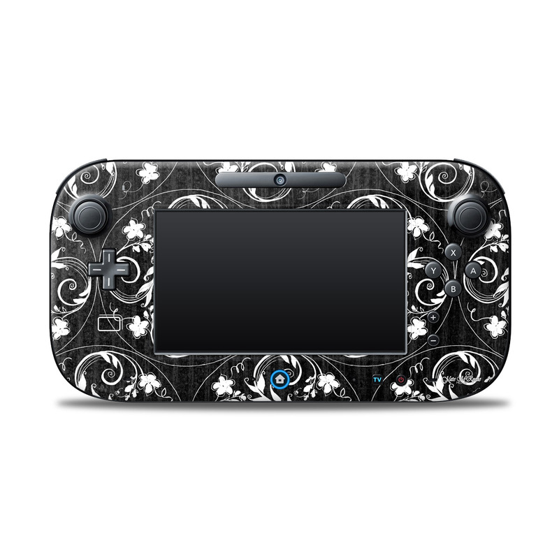 Wii U Controller Skin design of Pattern, Design, Visual arts, Ornament, Motif, Floral design, Paisley, Black-and-white, Textile with black, gray, white colors