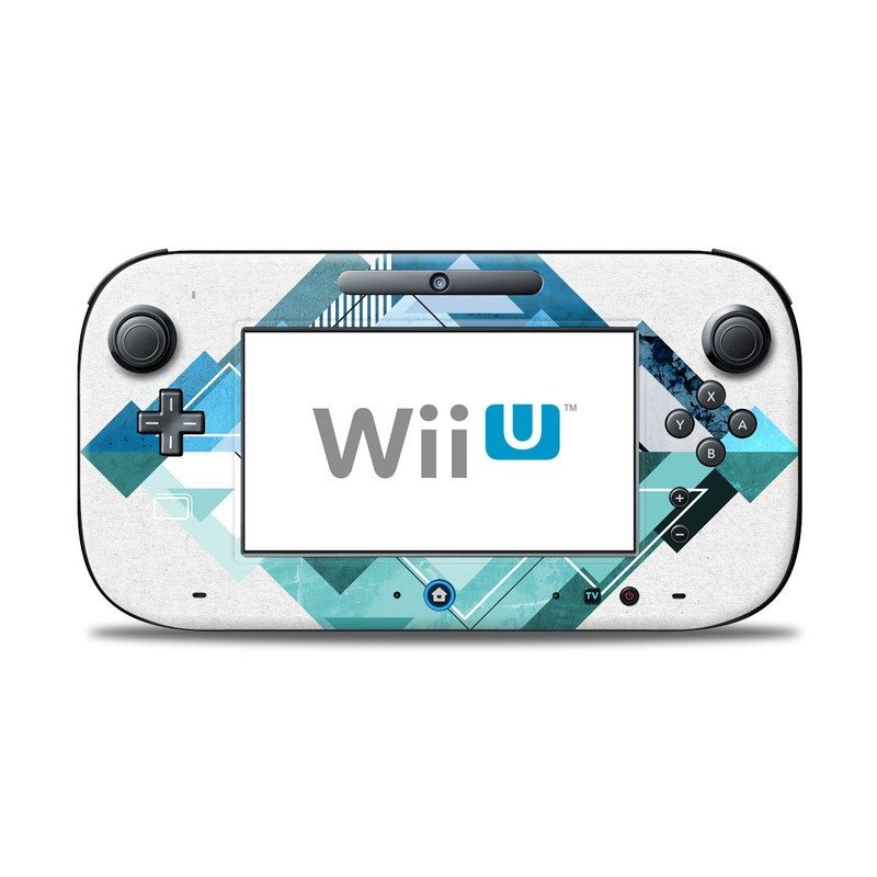 Wii U Controller Skin design of Blue, Turquoise, Illustration, Graphic design, Design, Line, Logo, Triangle, Graphics with gray, blue, purple colors