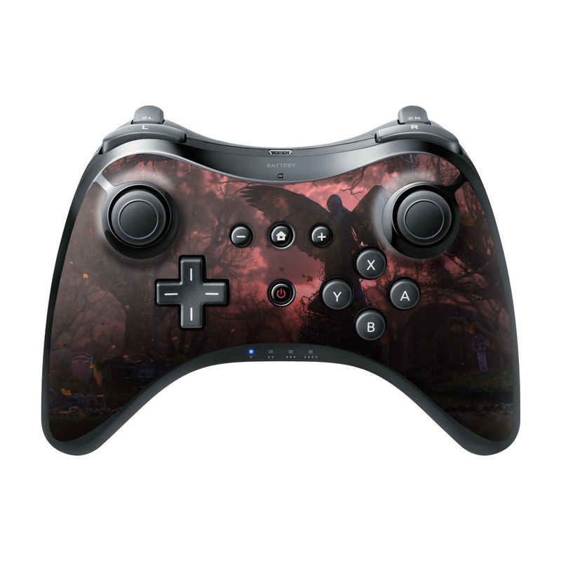 Wii U Pro Controller Skin design of Nature, Sky, Atmospheric phenomenon, Tree, Atmosphere, Darkness, Night, Screenshot, Cg artwork, Fictional character with black, red colors