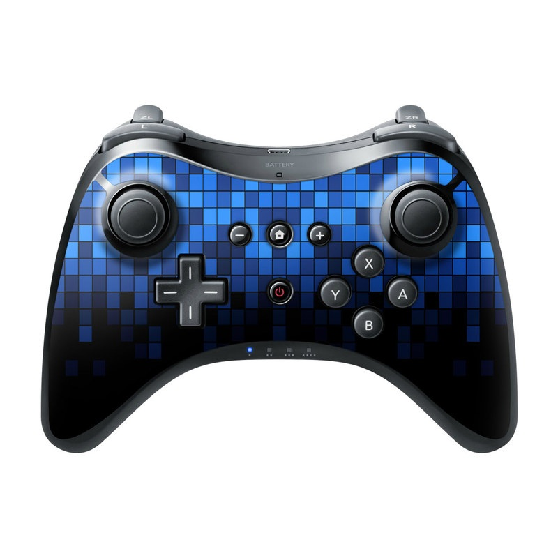 Wii U Pro Controller Skin design of Cobalt blue, Blue, Electric blue, Violet, Black, Purple, Pattern, Symmetry, Azure, Majorelle blue with black, blue colors