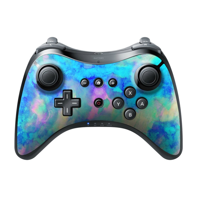 Wii U Pro Controller Skin design of Blue, Turquoise, Aqua, Pattern, Dye, Design, Sky, Electric blue, Art, Watercolor paint with blue, purple colors
