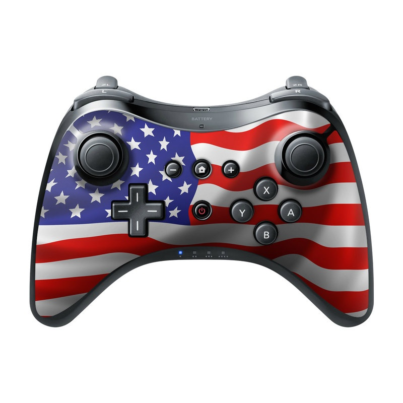 Wii U Pro Controller Skin design of Flag of the united states, Flag, Flag Day (USA), Veterans day, Independence day, Memorial day, Holiday with gray, red, blue, black, white colors