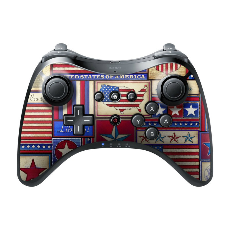 Wii U Pro Controller Skin design of Flag, Pattern, Flag of the united states, Flag Day (USA), Games with red, gray, blue, black, pink, green colors
