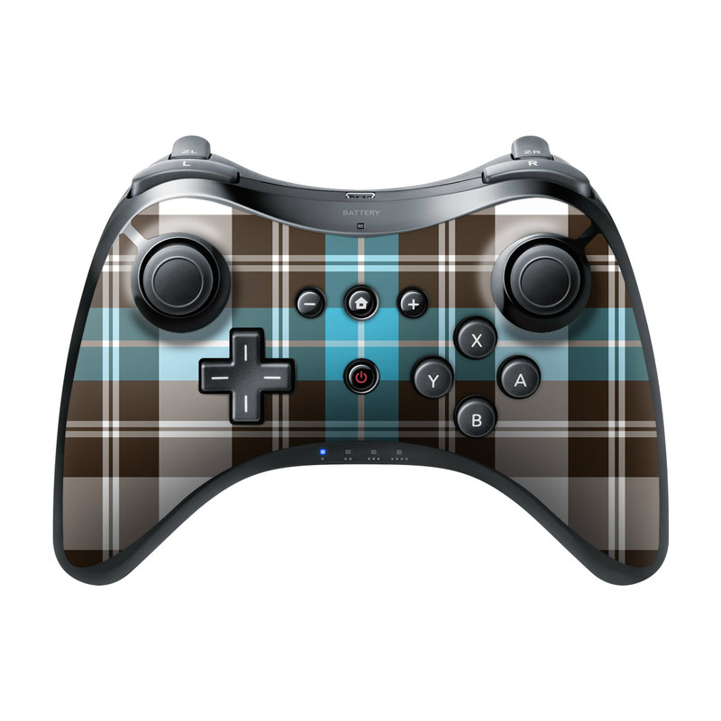 Wii U Pro Controller Skin design of Plaid, Pattern, Tartan, Turquoise, Textile, Design, Brown, Line, Tints and shades with gray, black, blue, white colors