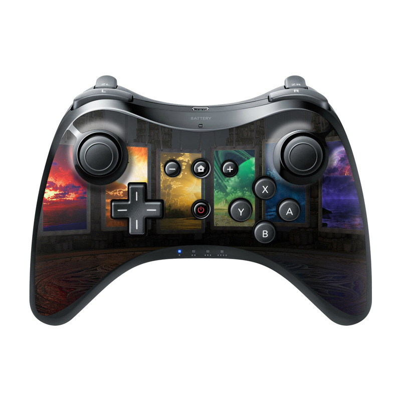 Wii U Pro Controller Skin design of Light, Lighting, Water, Sky, Technology, Night, Art, Geological phenomenon, Electronic device, Glass with black, red, green, blue colors
