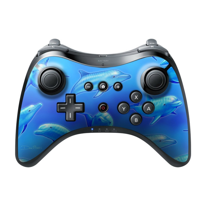 Swimming Dolphins Wii U Pro Controller Skin