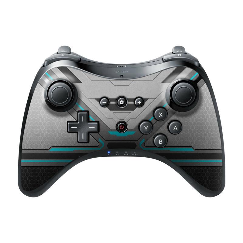 Wii U Pro Controller Skin design of Blue, Turquoise, Pattern, Teal, Symmetry, Design, Line, Automotive design, Font with black, gray, blue colors