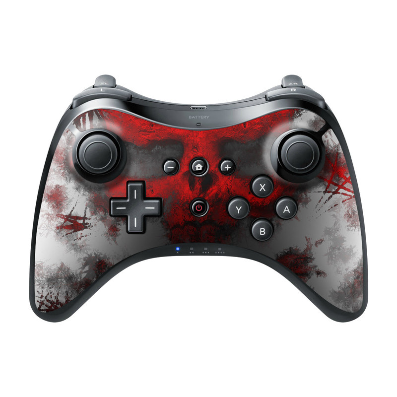 Wii U Pro Controller Skin design of Red, Graphic design, Skull, Illustration, Bone, Graphics, Art, Fictional character with red, gray, black, white colors