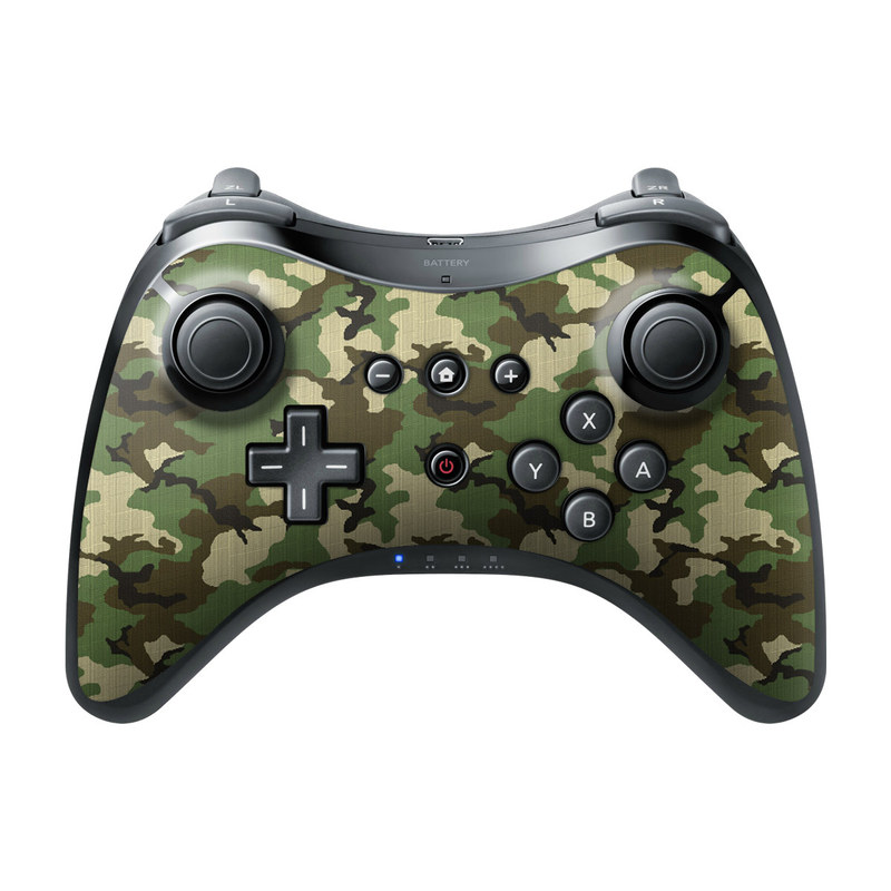 Wii U Pro Controller Skin design of Military camouflage, Camouflage, Clothing, Pattern, Green, Uniform, Military uniform, Design, Sportswear, Plane with black, gray, green colors